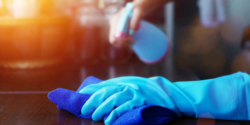 cleaning with gloves on