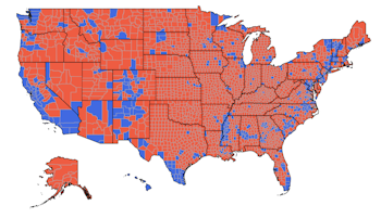 2020 Presidential Election Vote Shares Forecasts by Counties. Republican/Democratic wins in red/blue
