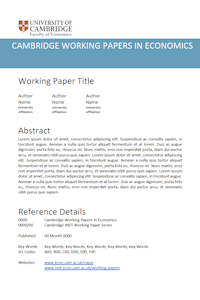 Transmission Mechanisms and Economic Policy CWPE Working Papers
